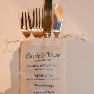 Mariage Carole et Bruno - Pochette à couverts